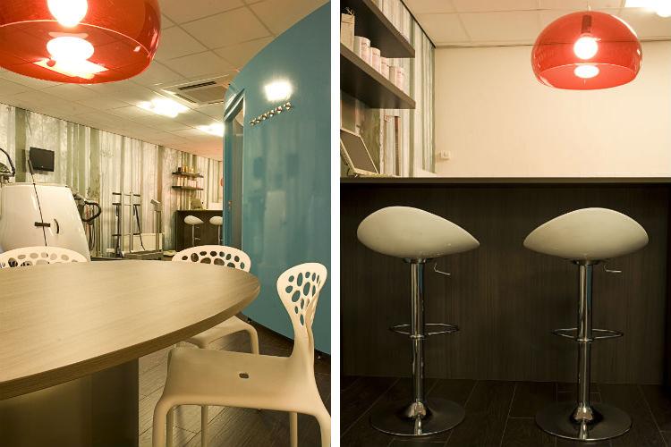 Afslankstudio Haren. Een hip interieur door toepassing van heldere kleuren en design meubels - Detail interieur