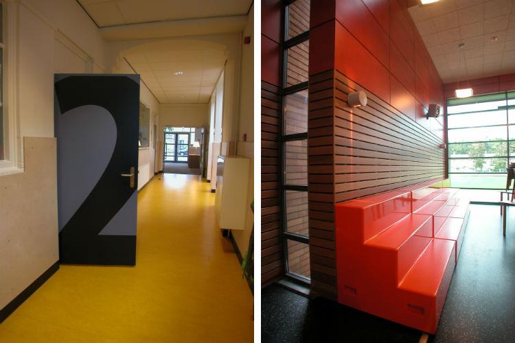 De nummering op de deuren zijn een decoratief element in de school - De tribune in de aula functioneert als ontmoetingsplek