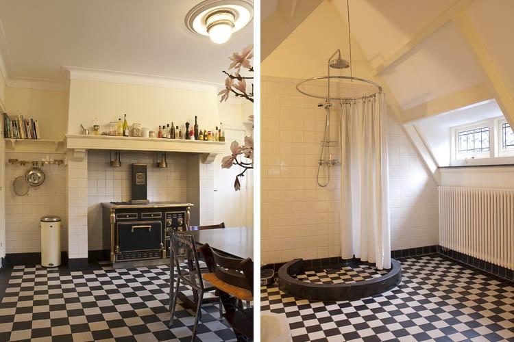 Woonkeuken en douche zolderverdieping villa Aerdenhout