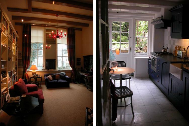 Woonkamer in klassieke stijl met eigen sfeer door kleur en materiaal - Compacte keuken met Delfts blauw grenzend aan de tuin