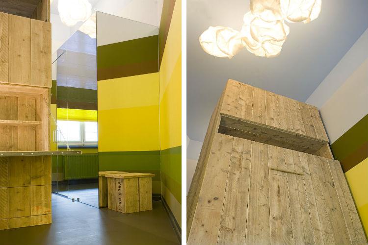 Mulitfunctionele kast van stijgerhout met aan voorzijde uitklapbureau - Mulitfunctionele kast met aan achterzijde uitklap bed