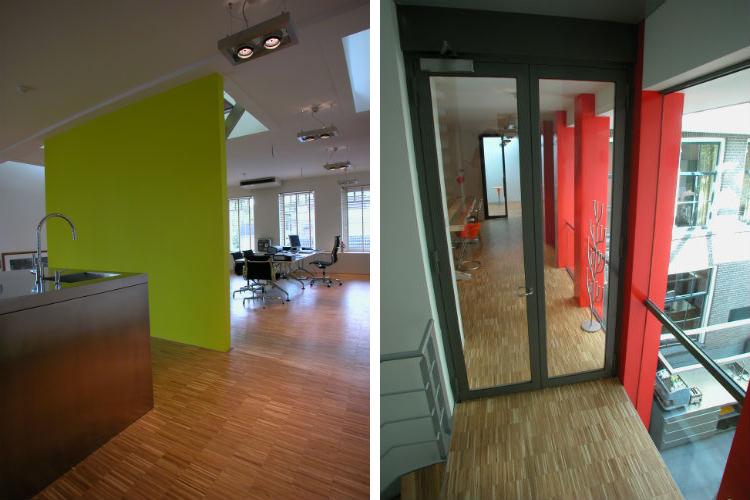 Kantoorloft is tevens voorzien van roestvrijstalen keukenblok - De kantooretage heeft open verbinding met de begane grond voor informele sfeer