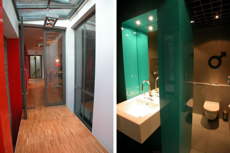 DenkRuim heeft tevens deze kamerhoge deuren voorgesteld - Toiletindeling is op originele wijze ontworpen naar wens van de opdrachtgever