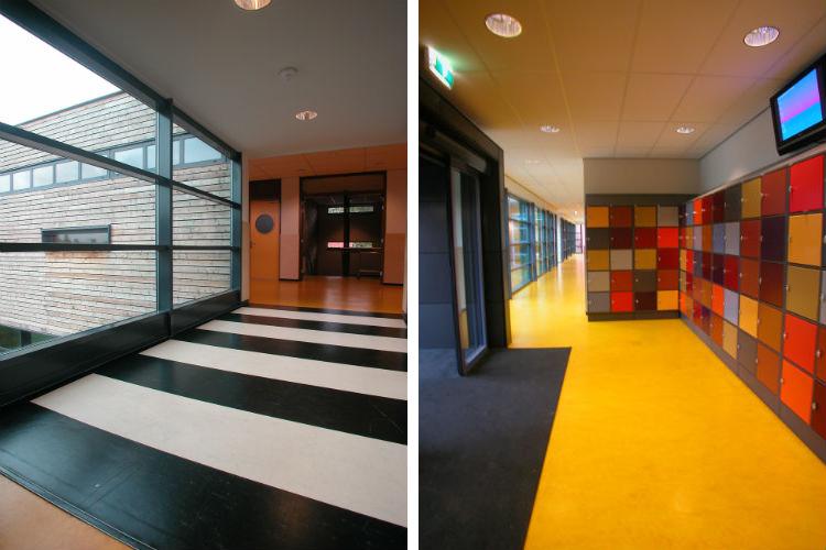 Overgang van oud- naar nieuwbouw door middel van zebrapad - Entree school met een opvallende lockerwand in diverse kleuren