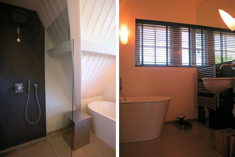 Maatwerk oplossing ten behoeve van de douche - Sfeervolle badkamer met strak vrijstaand bad