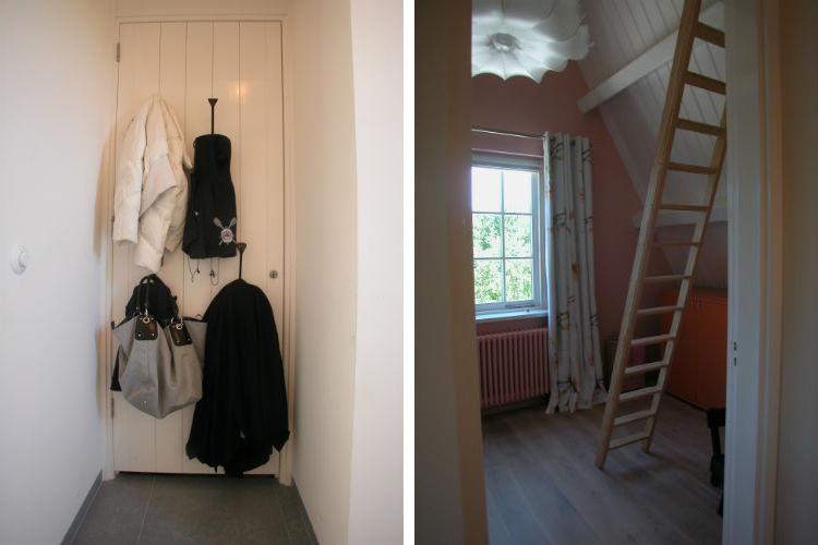 Kapstokhaken op de kastdeur als efficiente oplossing - Doorkijk kinderkamer met vlieringtrap naar speelzolder