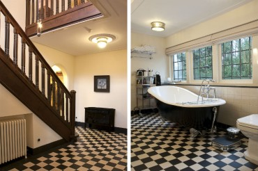 Gerenoveerde hal met volledige nieuwe ballustrade - In oude staat herstelde badkamer voorzien van gietijzeren bad