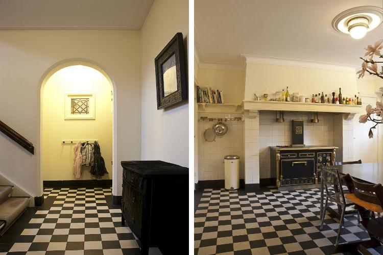 Doorgang met boog van de entreehal naar keuken - Prachtige keuken met authentieke schouw en professioneel gasfornuis
