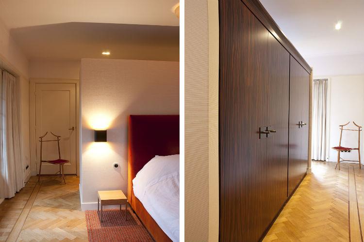 Sfeervolle slaapkamer met aan achterzijde wand een maatwerk kledingkast - Maatwerk kledingkast van ebbenhout met messing beslag