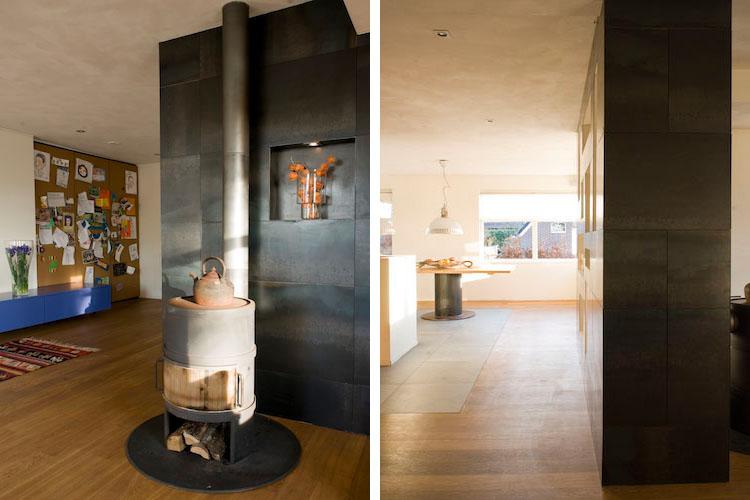 De grote deuren van diepe inbouwkast functioneren tevens als prikbord - Het interieur bestaat uit de eerlijke materialen hout, steen en staal