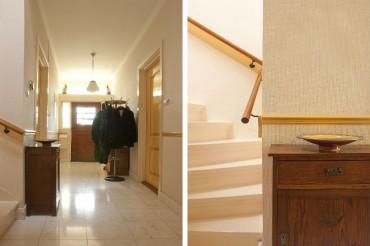 De sfeer en kleurstelling van de hal komen terug in de keuken - Detail van de kleurstelling trapopgang