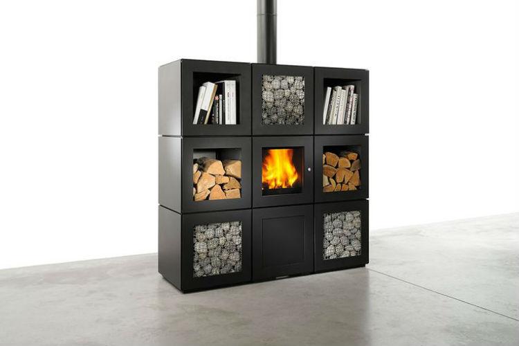 Modulair systeem houtkachtel Speetbox ontwerp Philippe Starck