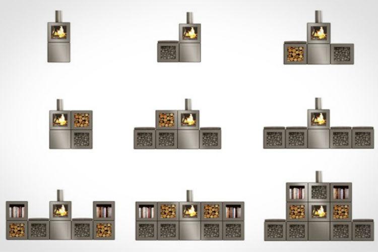Voorbeelden modulair systeem houtkachel Speetbox. Ontwerp Philippe Starck